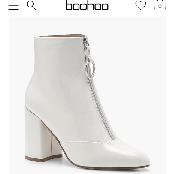 WHITE PATENT BOOTS W  RING PULL - SOLD OUT BOOHOO 8f7eddbedade